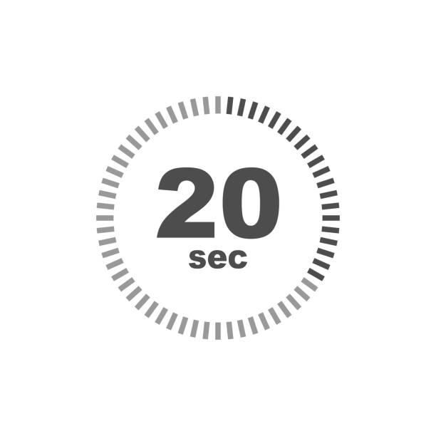 illustrations, cliparts, dessins animés et icônes de icône de minuterie de 20 secondes. conception simple - minuteur