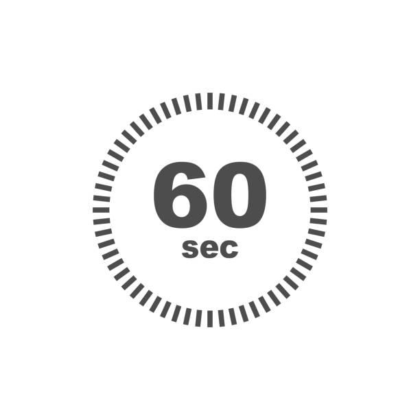 illustrations, cliparts, dessins animés et icônes de icône de minuterie de 60 secondes. conception simple - minuteur