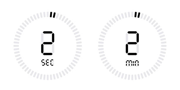 timer countdown with minutes and seconds icons - dwa przedmioty stock illustrations