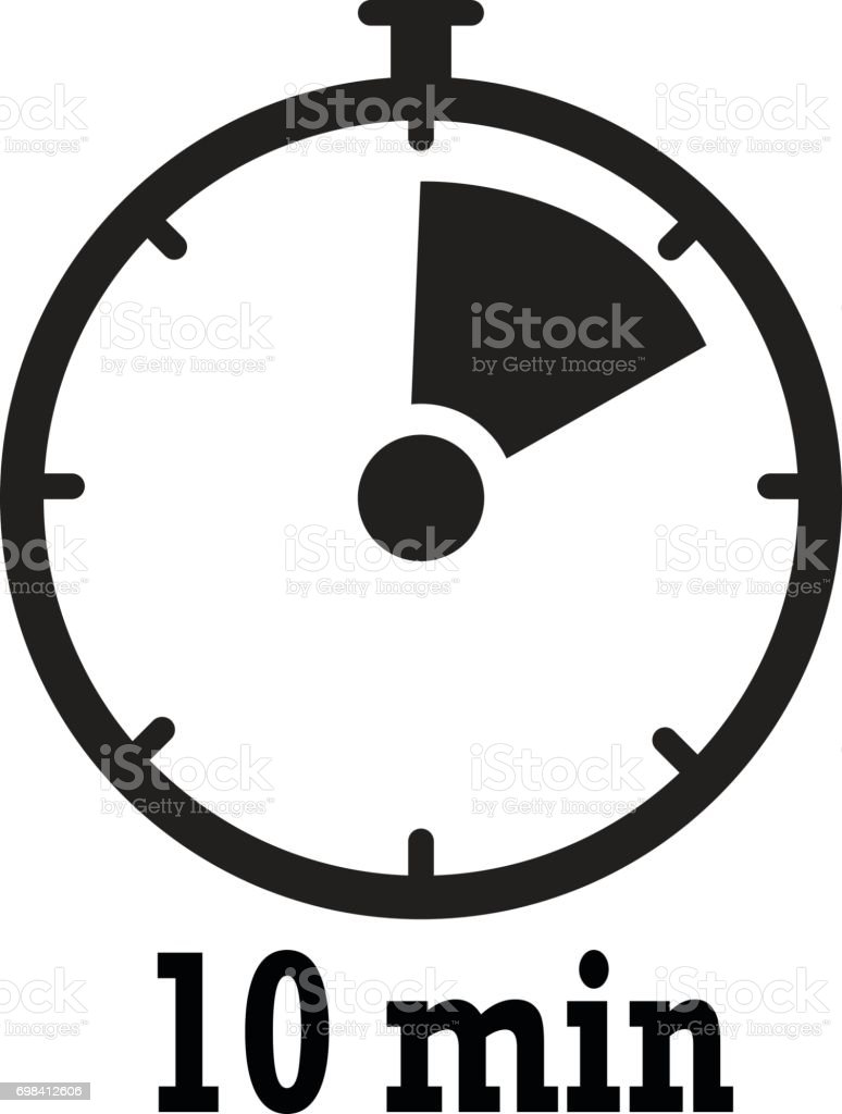 timer icon 10 minutes stopwatch symbol flat icon on white background