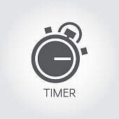 Timer icon drawing in flat style. Black graphic symbol of timepiece, deadline and precision cooking themes