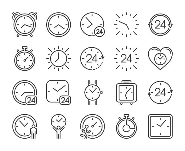 Timer icon. Time Management line icons set. Editable stroke. Pixel Perfect. Timer icon. Time Management line icons set. Editable stroke. Pixel Perfect clock stock illustrations