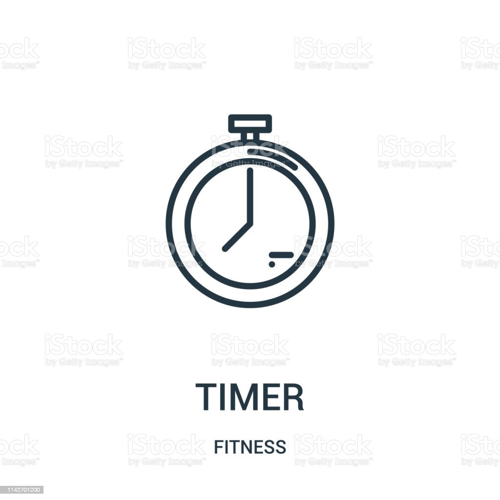 timer icon vector from fitness collection. Thin line timer outline...