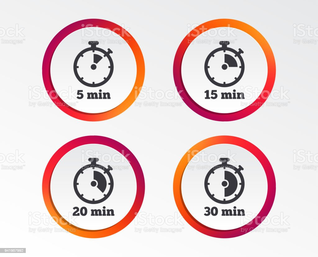 timer icons five minutes stopwatch symbol stock vector art more