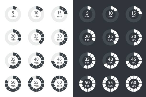 timer icons set, stopwatch vector icons vector art illustration