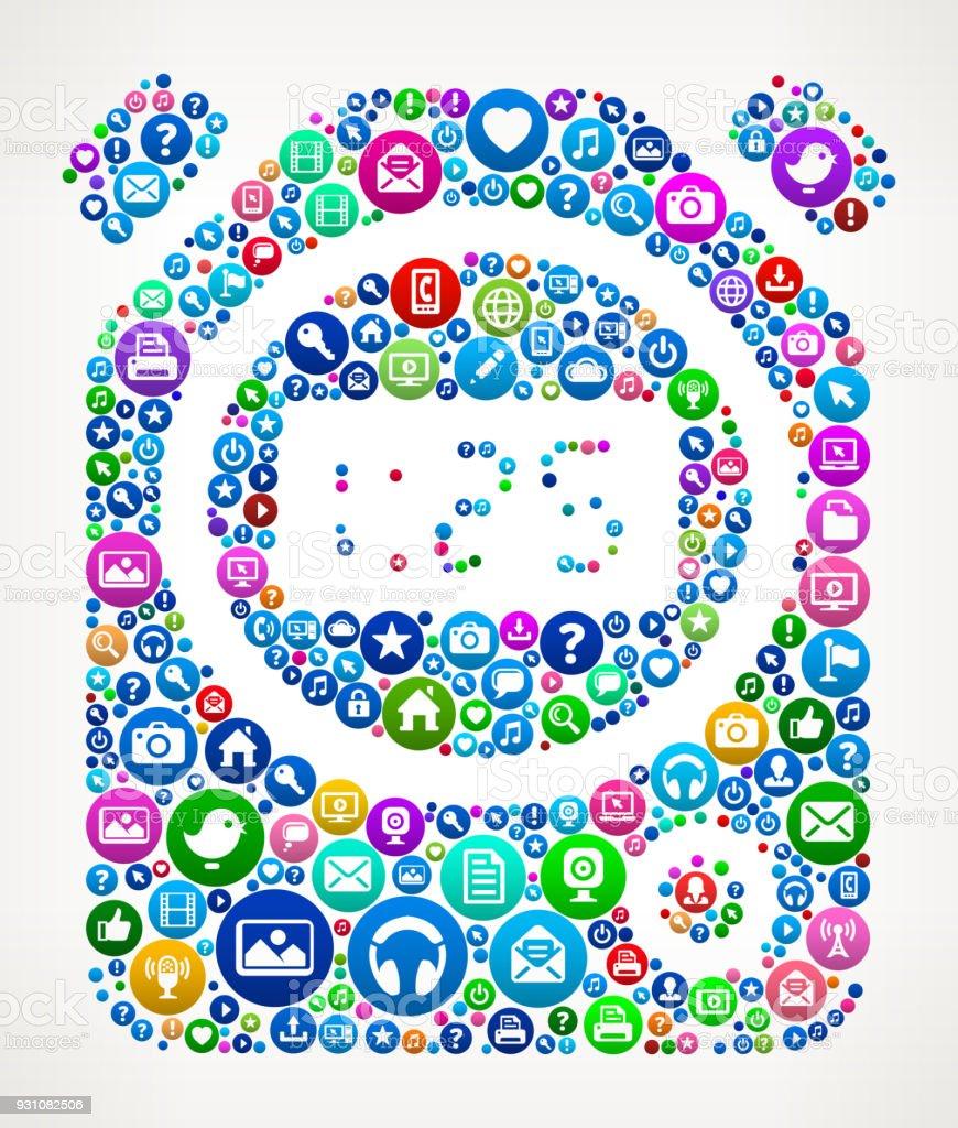 Timer Internet Communication Technology Icon Pattern vector art illustration