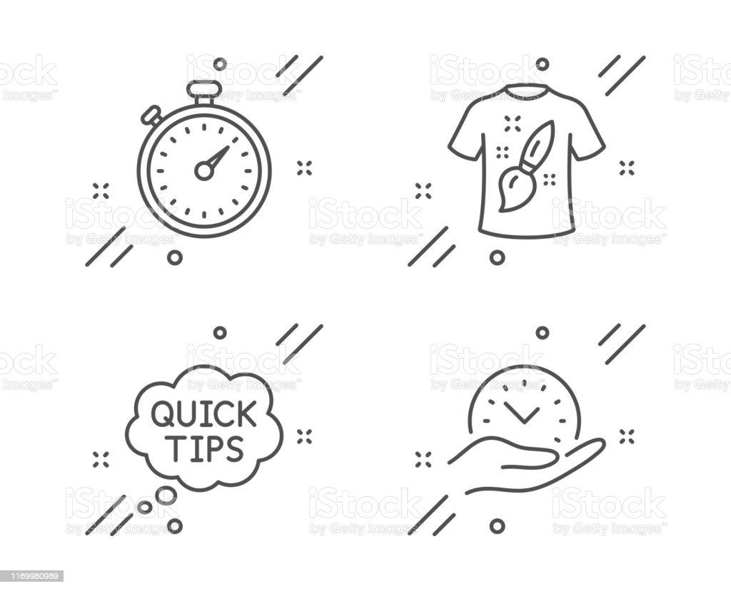 Timer, Quick tips and T-shirt design line icons set. Safe time sign....