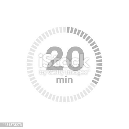 Timer sign 20 min on white background. Countdown