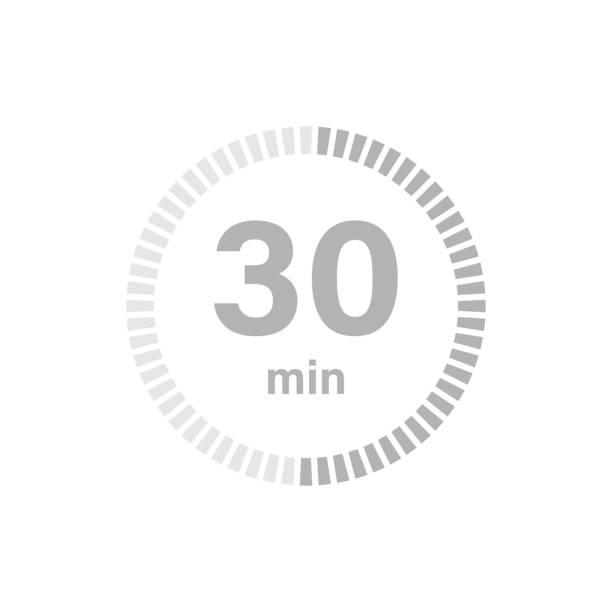 bildbanksillustrationer, clip art samt tecknat material och ikoner med timer-skylt 30 min - nummer 30