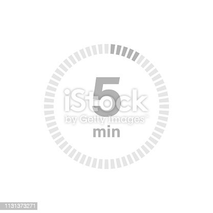Timer sign 5 min on white background. Vector