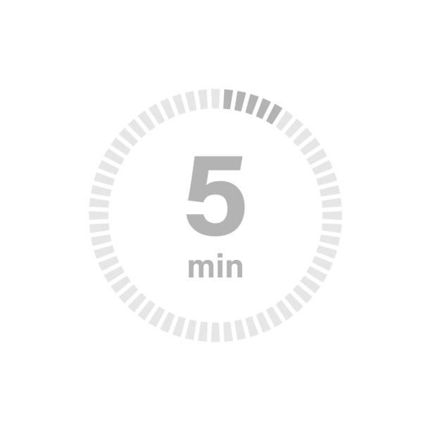 illustrations, cliparts, dessins animés et icônes de signe minuterie 5 min - chronomètre