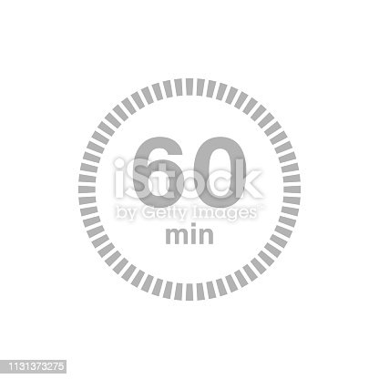 Timer sign 60 min on white background. Countdown