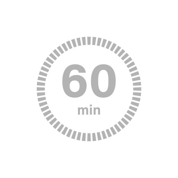 Timer sign 60 min Timer sign 60 min on white background. Countdown single object stock illustrations