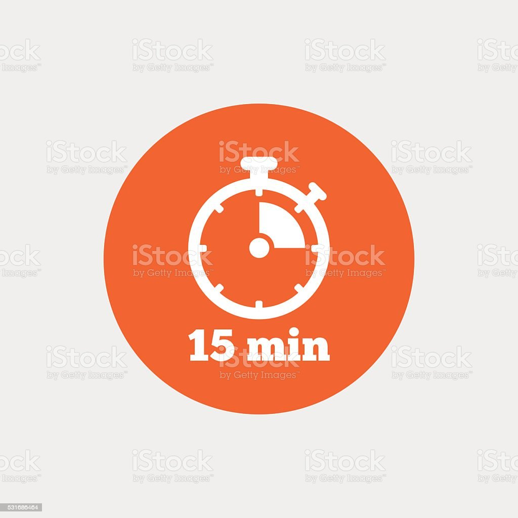 Timer Sign Icon 15 Minutes Stopwatch Symbol Stock Vector Art & More
