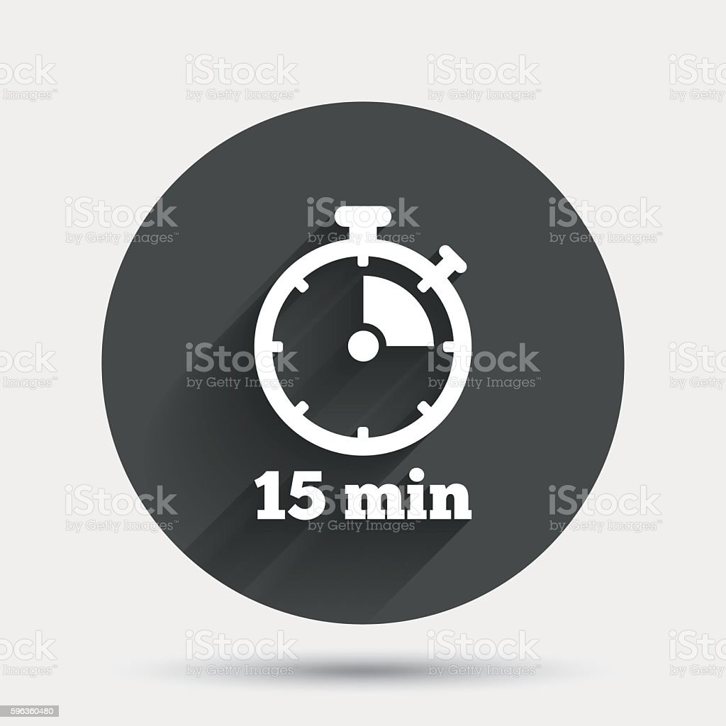 Timer sign icon. 15 minutes stopwatch symbol. royalty-free timer sign icon 15 minutes stopwatch symbol stock vector art & more images of badge