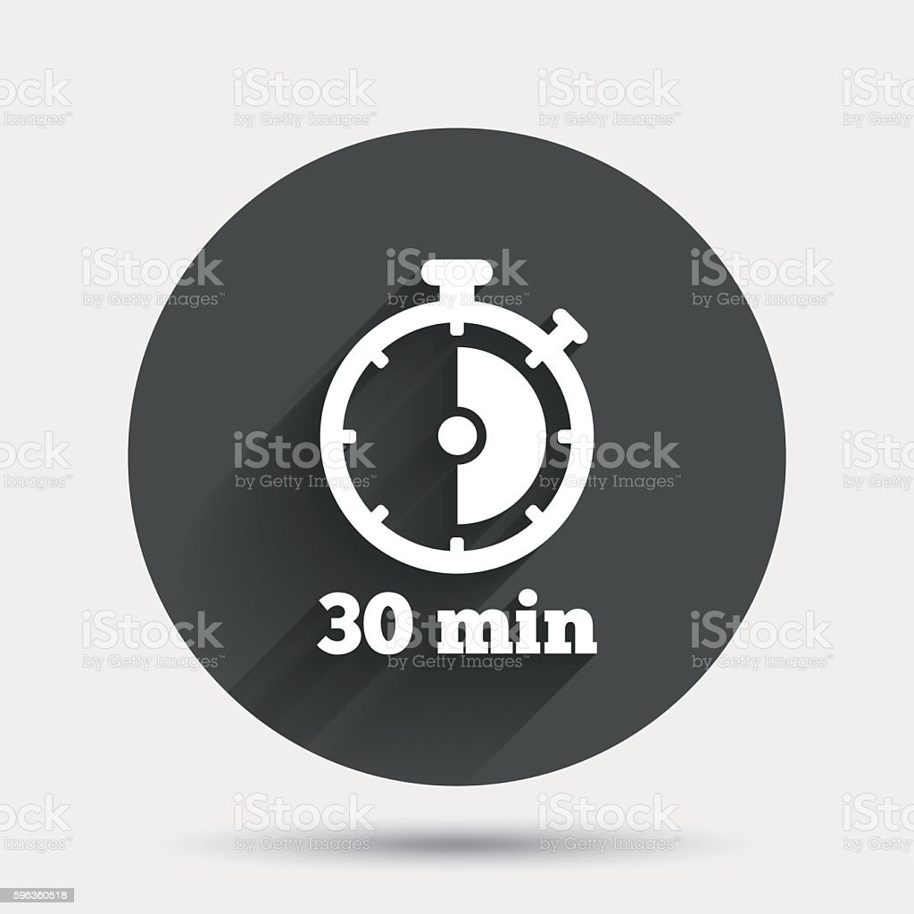 Timer sign icon. 30 minutes stopwatch symbol. royalty-free timer sign icon 30 minutes stopwatch symbol stock vector art & more images of badge
