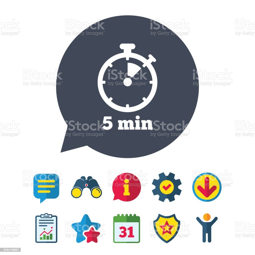 timer sign icon 5 minutes stopwatch symbol stock vector art more