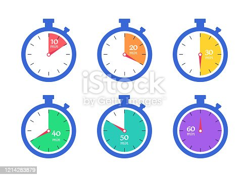Timer. Stopwatch. Countdown 10.20,30,40,50,60 minutes. Vector illustration