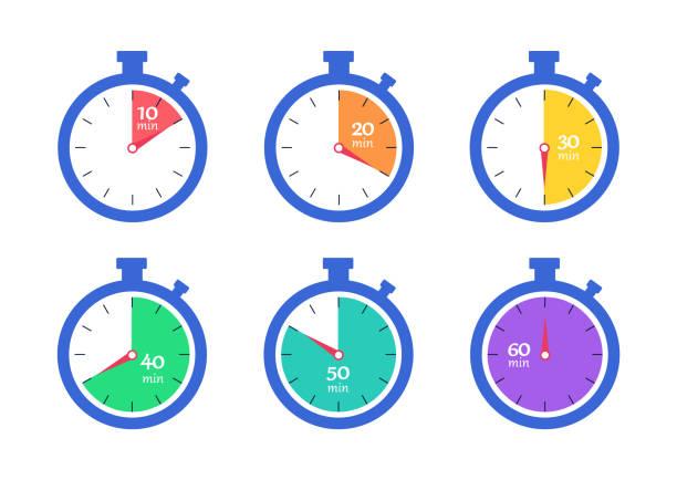 illustrations, cliparts, dessins animés et icônes de minuterie. chronomètre. compte à rebours 10,20,30,40,50,60 minutes. - horlogerie