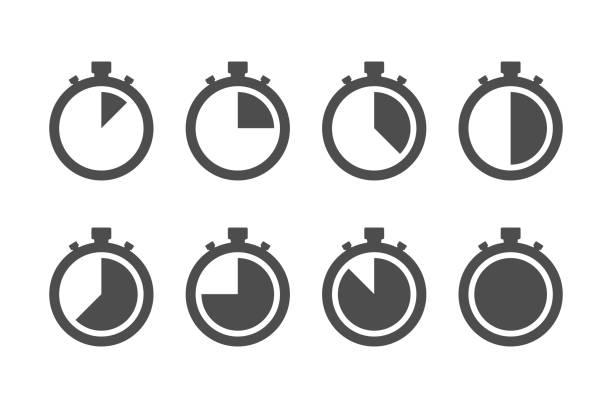 ikona stopera timera zestaw prosty projekt - czas stock illustrations