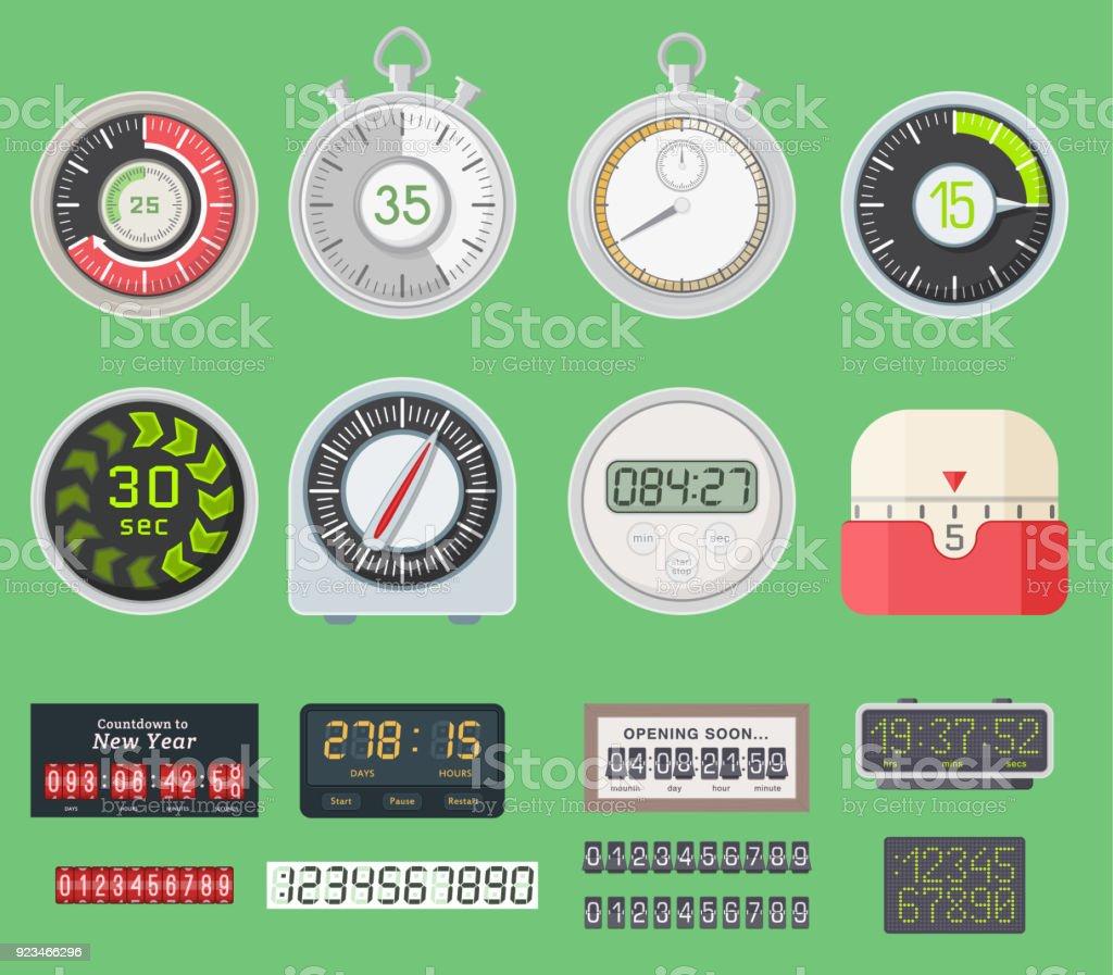 73022f4a2410 Relojes del vector de temporizador ver ilustración de símbolo hora  cronómetro. Temporizadores de cocina firman
