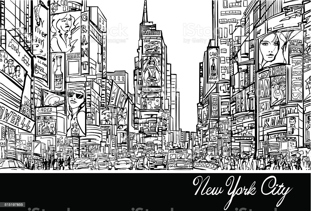 Times Square in New York vector art illustration