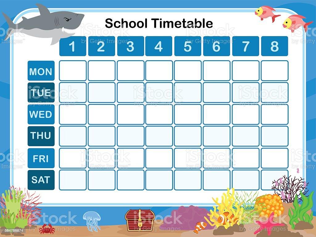 Timetable for school vector art illustration