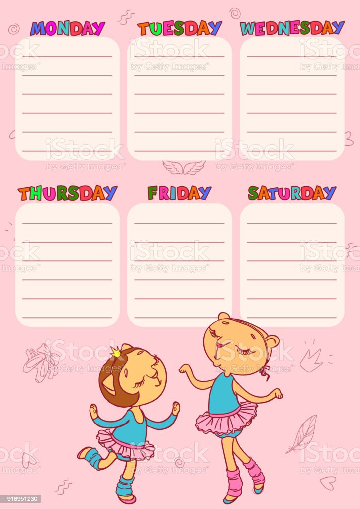 Timetable For School With Cute Catgirls Vector Printable Template ...
