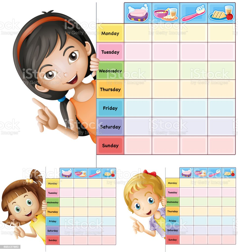 Timetable template with happy girls vector art illustration