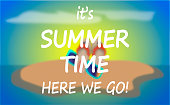 SUMMER TIME,text on blur twilight sea background.Vector