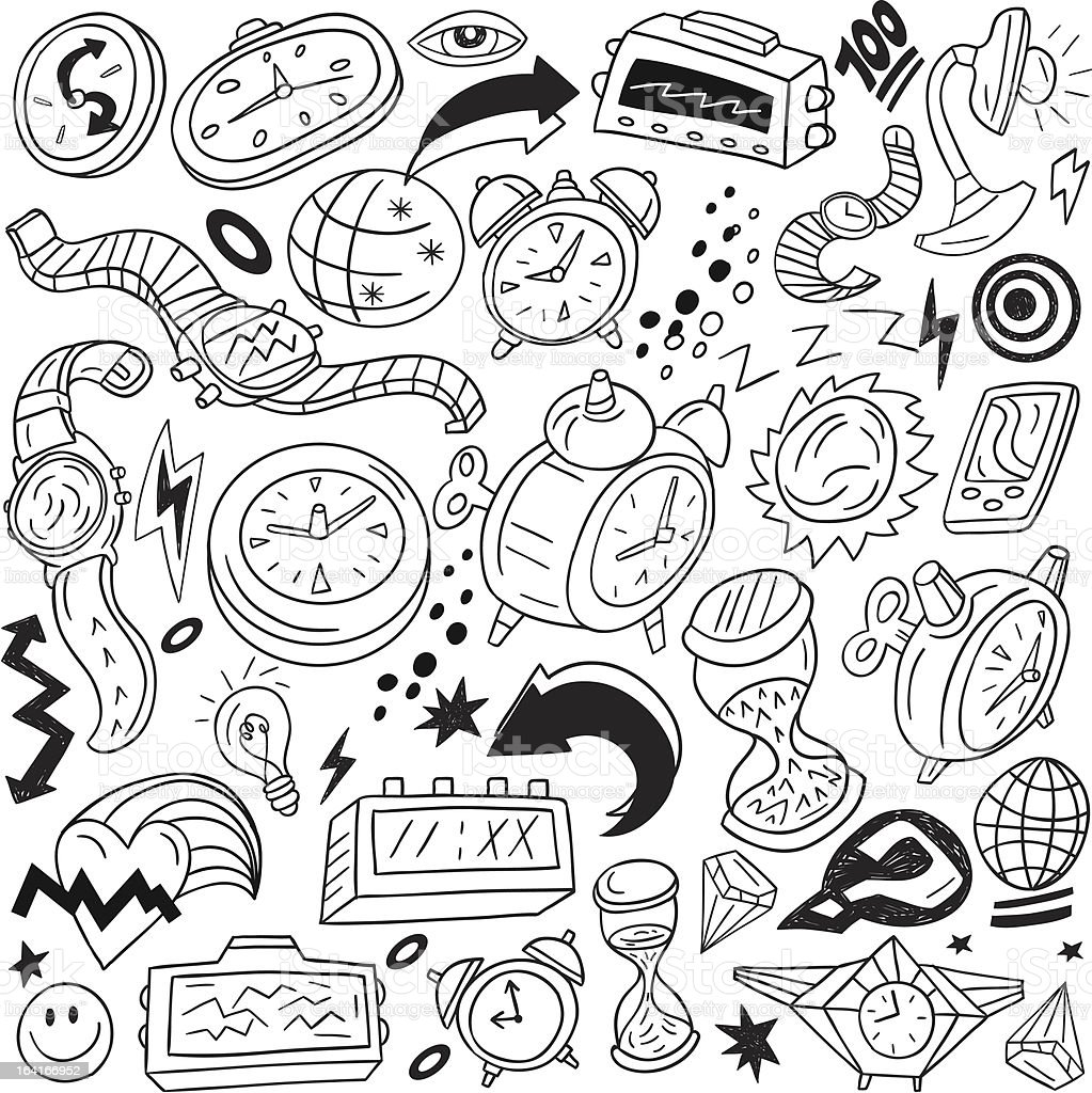 Time,watches - doodles set royalty-free stock vector art