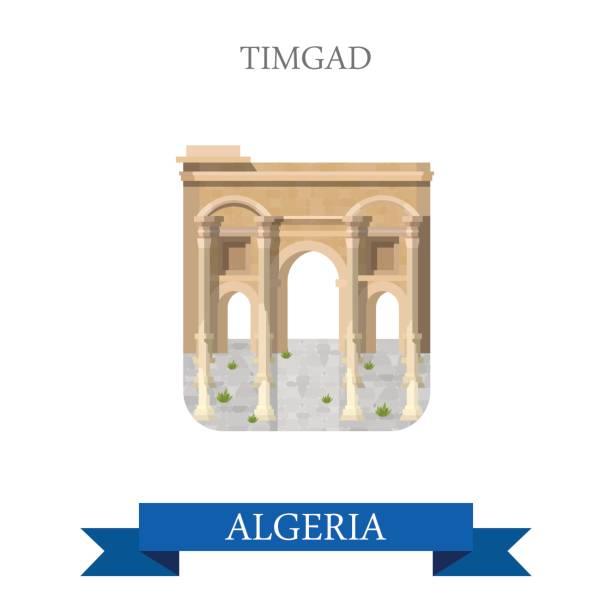廷加德在阿爾及利亞。平面卡通風格的歷史景觀展示場所景點網站向量例證。世界各國城市度假旅遊觀光非洲收藏。 - 阿爾及利亞 幅插畫檔、美工圖案、卡通及圖標