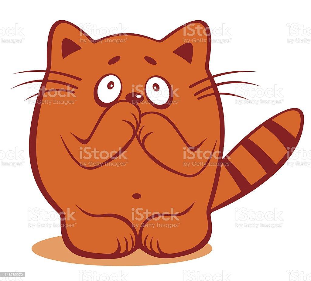 timid cat royalty-free stock vector art