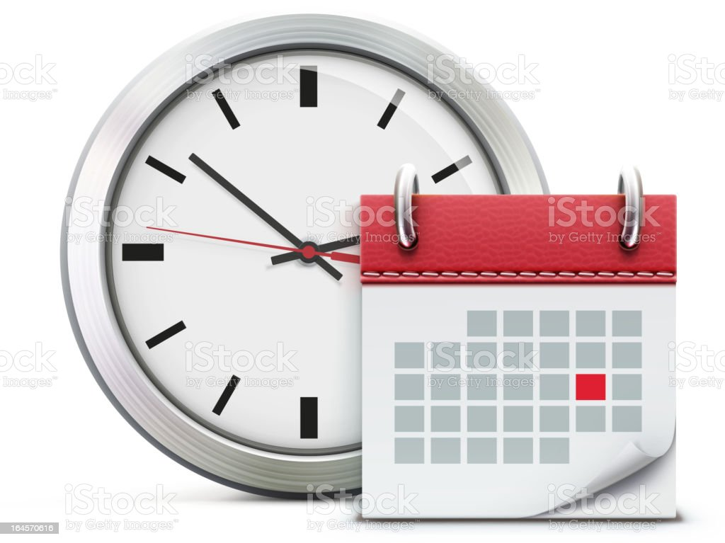 Timing concept with calendar and clock vector art illustration