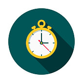 Timing Flat Design Shipping Icon with Side Shadow