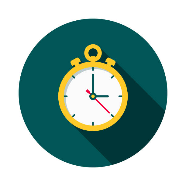 Timing Flat Design Shipping Icon with Side Shadow A colored flat design shipping and mail delivery icon with a long side shadow. Color swatches are global so it's easy to edit and change the colors. instrument of time stock illustrations