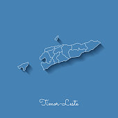 Timor-Leste region map: blue with white outline and shadow on blue background.