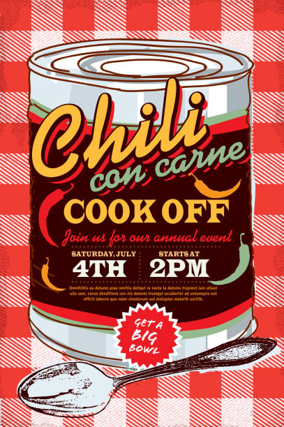 Tin can chili con carne cook off invitation design template Vector illustration of a Chili Cookoff con carne cook off invitation design template. Bright and colorful. Includes yellow and red color themes with red checkered table cloth. Perfect for pattern background for picnic invitation design template, summer barbecue event, picnic celebration, backyard bbq, private or corporate party, birthday party, fun family event gathering. cooking competition stock illustrations