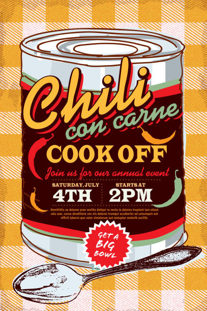 Tin can chili con carne cook off invitation design template Vector illustration of a Chili Cookoff con carne cook off invitation design template. Bright and colorful. Includes yellow and red color themes with yellow orange checkered table cloth. Perfect for pattern background for picnic invitation design template, summer barbecue event, picnic celebration, backyard bbq, private or corporate party, birthday party, fun family event gathering. cooking competition stock illustrations