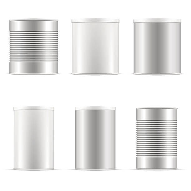 Tin can collection. White containers with plastic cap and metal. Tin can collection including white can, metal can, aluminum can. Different sizes of tin cans with plastic cap for baby powder milk, tee, coffee, cereal, grain and other products. Vector packaging set. paint can stock illustrations