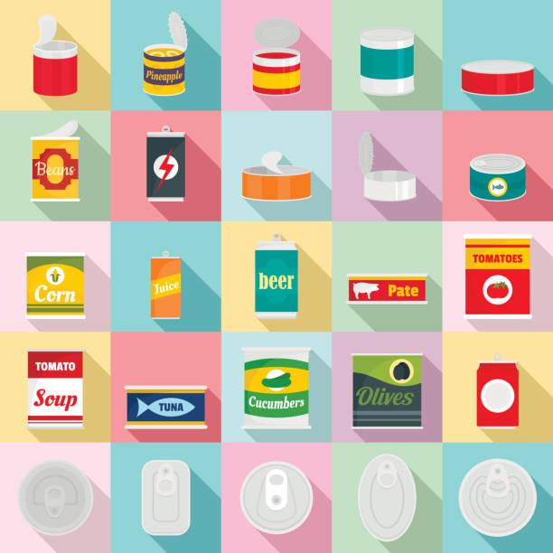 illustrazioni stock, clip art, cartoni animati e icone di tendenza di tin can food package jar icons set, flat style - latte
