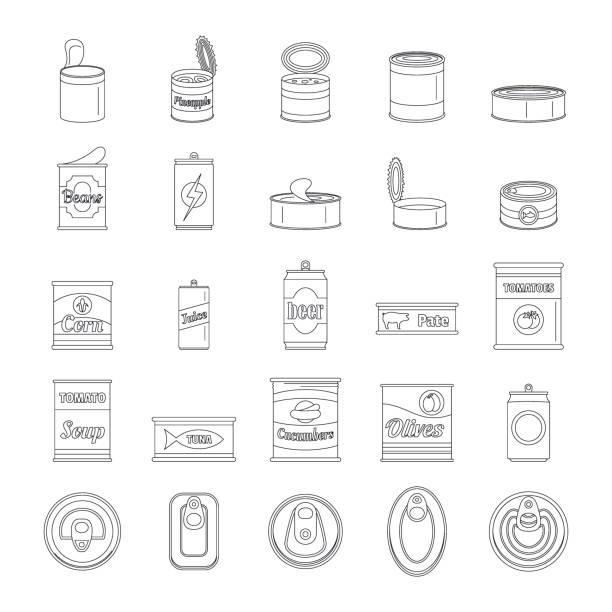 stockillustraties, clipart, cartoons en iconen met blikje voedsel pakket jar iconen set, kaderstijl - voorraadbus