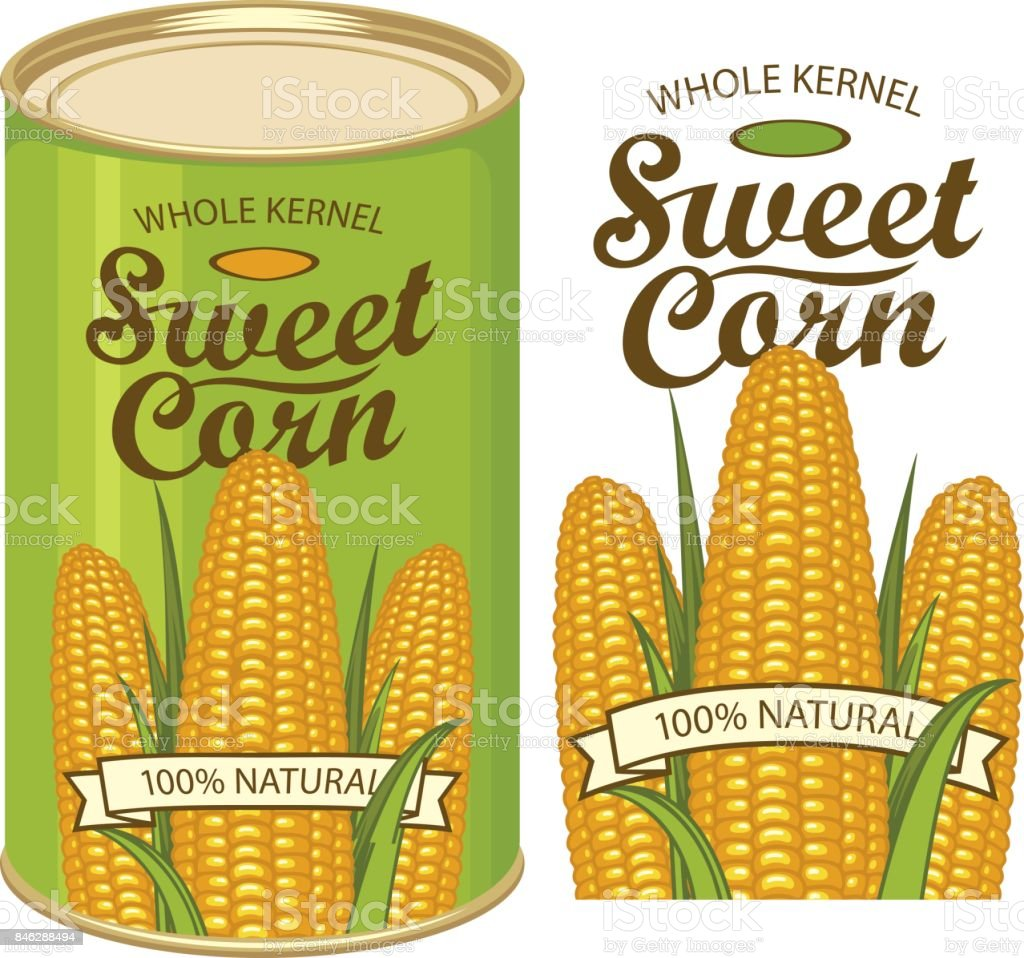 tin can label for canned sweet corn with the cobs download vetor e