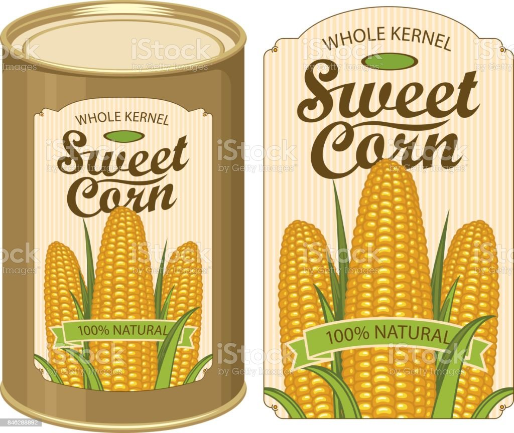 tin can label for canned sweet corn with the cobs arte vetorial de
