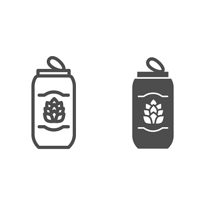 Tin can of beer line and solid icon, Craft beer concept, beverage sign on white background, beer can with hops icon in outline style for mobile concept and web design. Vector graphics