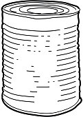 Vector illustration of a Tin can line art on white background. Simple line work outline. White background isolated on white. Canning, canning jar, airtight, tin, food packaging, food products, premade. Canned soup, canned chili, canned veggies. Simple outline. Sketchy style and hand drawn. Black and white. Preserving food, canned food drive.Vector illustration of a Picnic and barbecue themed tin can with spoon design. Bright and colorful. Includes brown and green color themes with green checkered table cloth. Perfect for pattern background for picnic invitation design template, summer barbecue event, picnic celebration, backyard bbq, private or corporate party, birthday party, fun family event gathering.