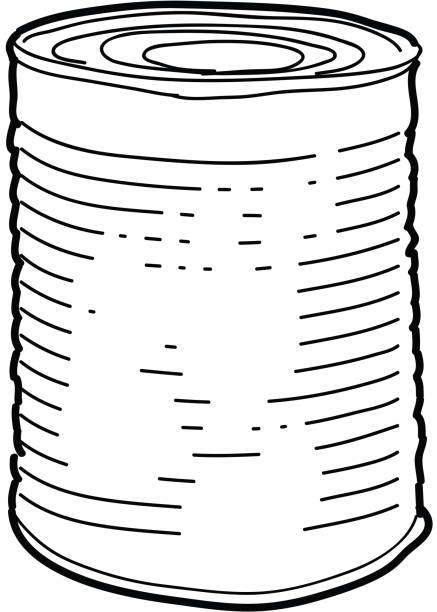 Tin can sketch Vector illustration of a Tin can line art on white background. Simple line work outline. White background isolated on white. Canning, canning jar, airtight, tin, food packaging, food products, premade. Canned soup, canned chili, canned veggies. Simple outline. Sketchy style and hand drawn. Black and white. Preserving food, canned food drive.Vector illustration of a Picnic and barbecue themed tin can with spoon design. Bright and colorful. Includes brown and green color themes with green checkered table cloth. Perfect for pattern background for picnic invitation design template, summer barbecue event, picnic celebration, backyard bbq, private or corporate party, birthday party, fun family event gathering. food drive stock illustrations