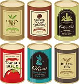 set Vector illustration of a tin can with label of olives, tea, coffee and tomato soup