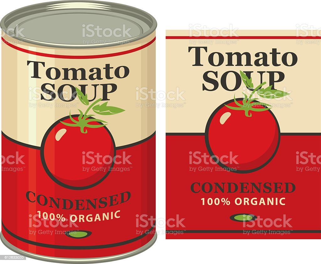 tin can with label tomato soup vector art illustration