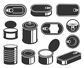 Tin cans black glyph icons vector set. Aluminum food packages silhouettes. Metal containers collection. Conserves and preserves. Canned fish and meat products blank steel jars isolated illustrations